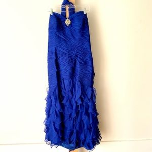 Royal blue strapless ruched gown
